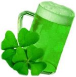 Green beer with four-leaf clovers