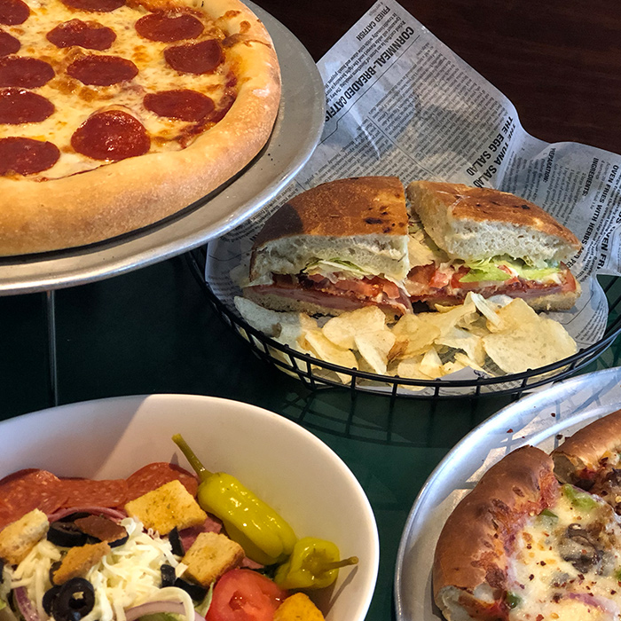 Pizza, salads, sandwiches, pasta and more can be delivered.