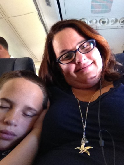 I felt asleep on the airplane next to my mom.