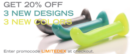 Tantus Limited Edition colors on 3 new designs - Dark Silver, Teal, Bright Lime. 20% off sale.