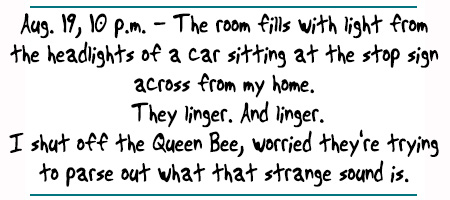 "Hot Octopuss Queen Bee Diaries: ""Aug. 19, 10 p.m. - The room fills with light from  the headlights of a car sitting at the stop sign  across from my home.  They linger. And linger. I shut off the Queen Bee, worried they're trying  to parse out what that strange sound is. """