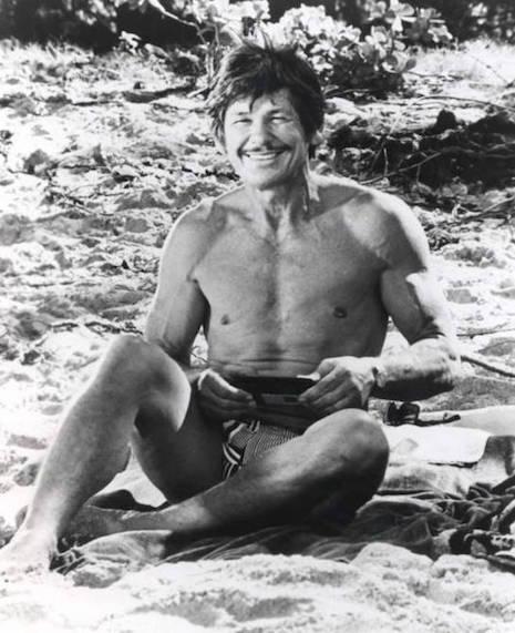Charles Bronson at the beach, 1974