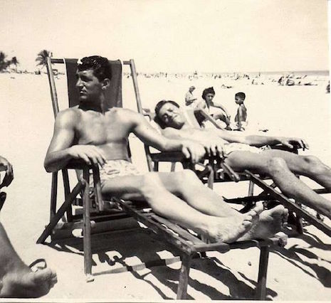 Dean Martin and Jerry Lewis at the beach, 1950's