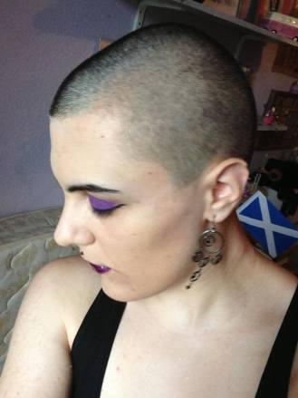 Nina shaved head