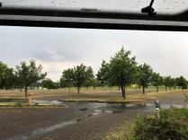 Regen auf dem Parkplatz in Wörlitz