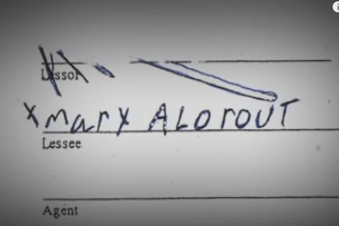 Chữ ký giả của Mary trên bản sao của văn bản xác nhận. Ảnh: Filmrise.
