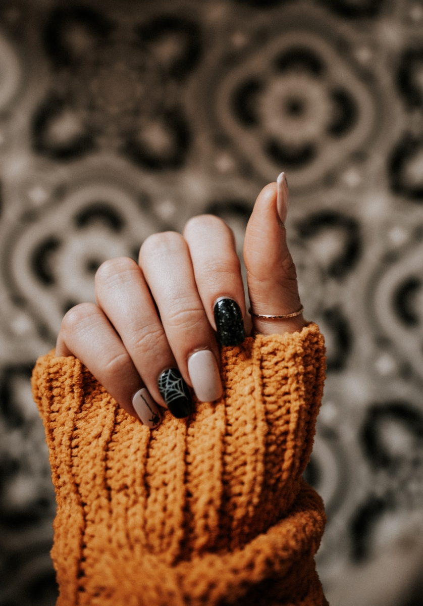 person with nail art