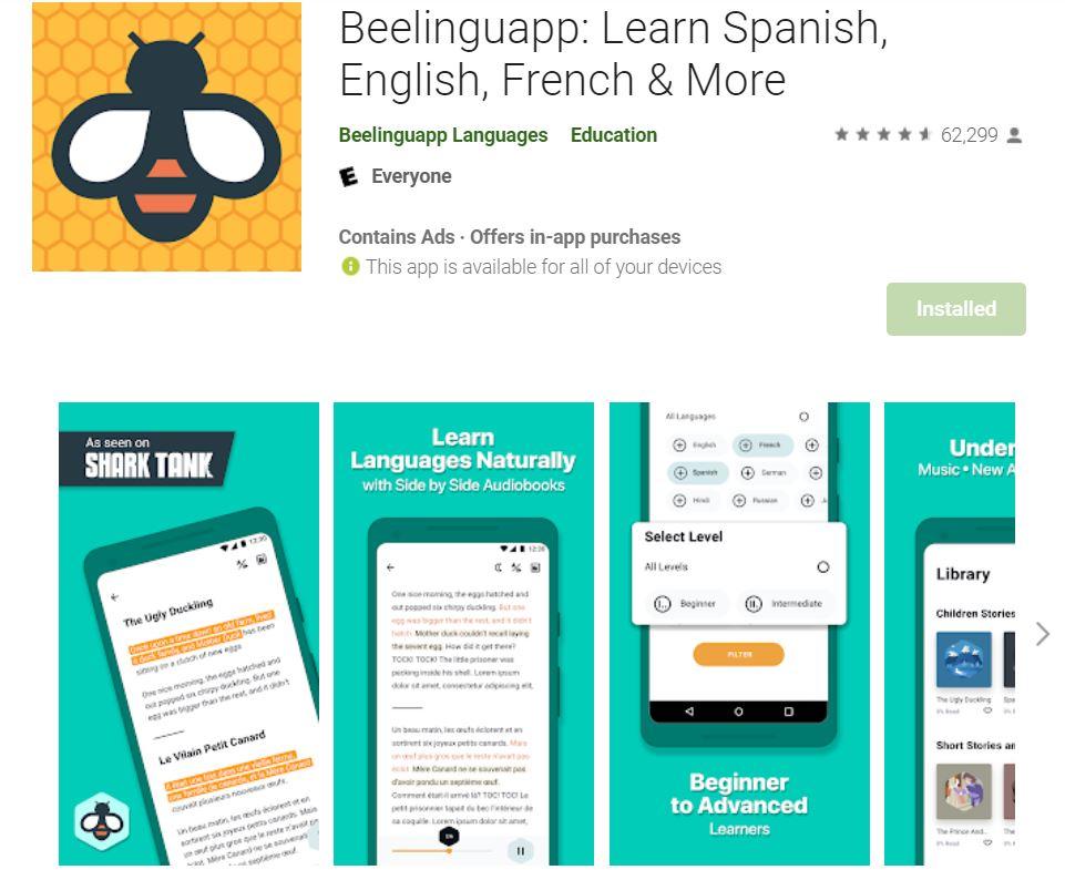 ứng dụng beelinguapp