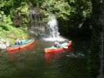 Canoes at the waterfall