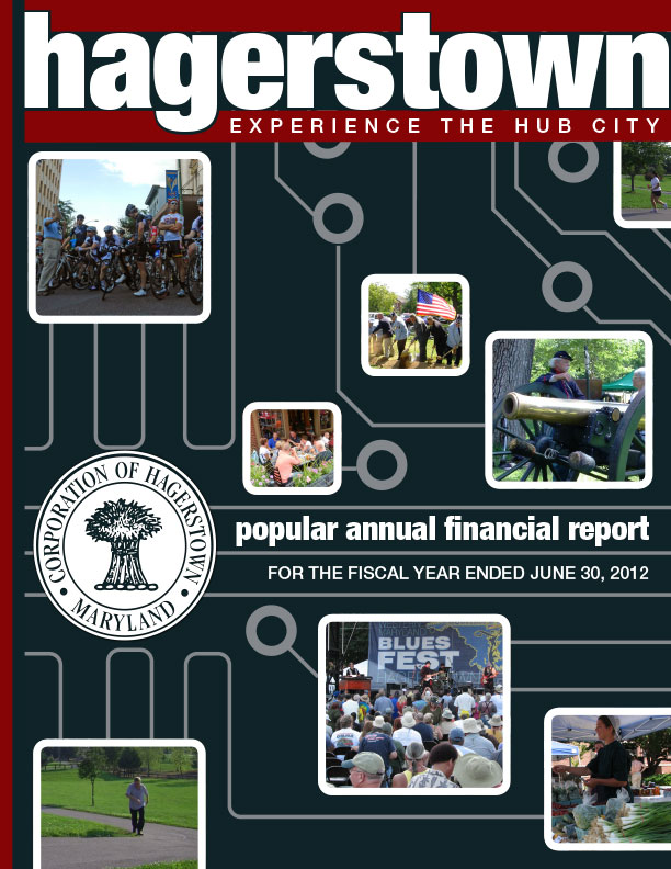 """2012. The City of Hagerstown had Icon Graphics create the cover of their popular annual financial report in 2012. The theme was """"experience the Hub City,"""" so we went with the concept of a technilogical hub."""