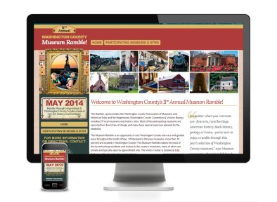 2014. The brochure for the annual Washington County Museum Ramble got a redesign, so I designed the site to match and developed it with the help of my coworker, who made the design responsive.