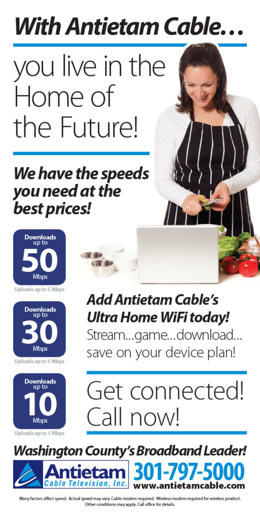 Full-page newspaper ad for Antietam Cable's internet service as part of their Home of the Future campaign. Design as part of Icon Graphics.