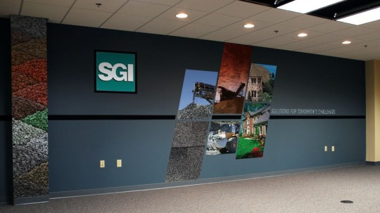 Wall graphics for Specialty Granules, Inc.'s conference room at their Hagerstown, MD office. Designed as part of the team at Icon Graphics.