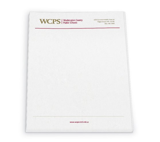 Simple letterhead design for Washington County Public Schools. At their request, this was prepared as a Word document for ease of use internally. Designed as part of the team at Icon Graphics.