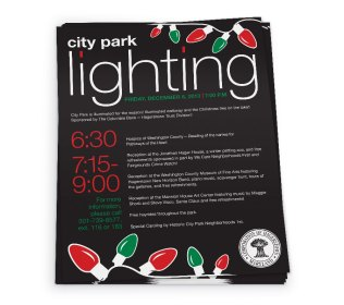 Flier design for the annual City Park Lighting, sponsored by The City of Hagerstown, as part of the team at Icon Graphics.