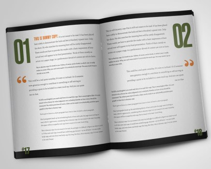 An open spread for use mocking up items for your portfolio or a client presentation.