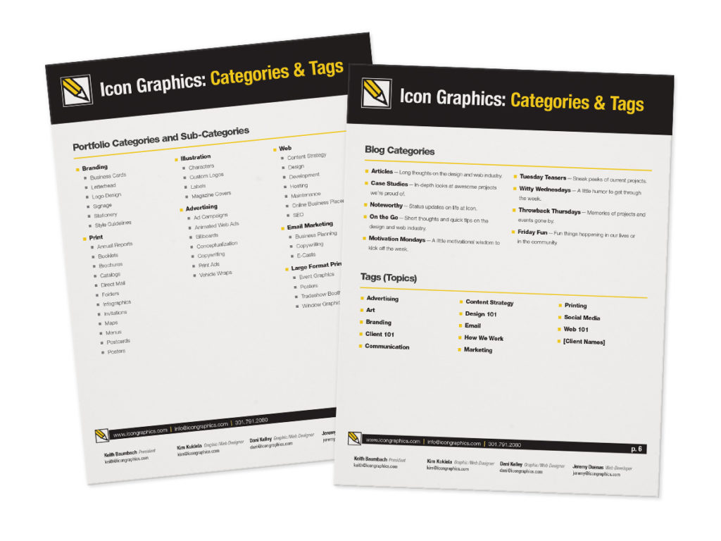 A series of categories and tags to help us keep content and portfolio items organized.