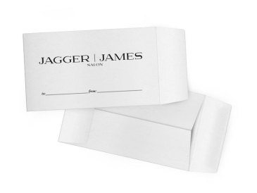 This design was unique to JAGGER | JAMES SALON. Rather than search for a stock photo or illustration of a tip envelope that matched the envelopes they actual use, I illustrated the envelopes from scratch and placed the design in its proper place.