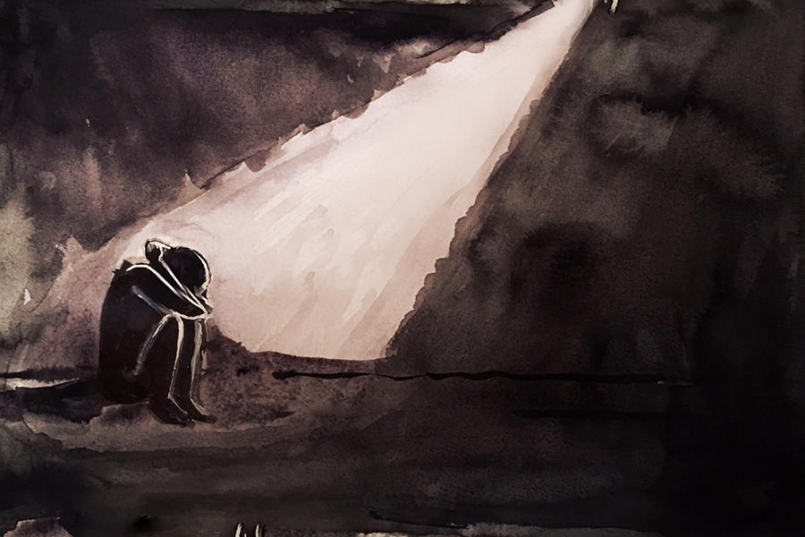A messy ink painting of a person sitting with their knees up against their chest, their arms clutching their head as they crouch and attempt to hide from the spotlight shining down on them.