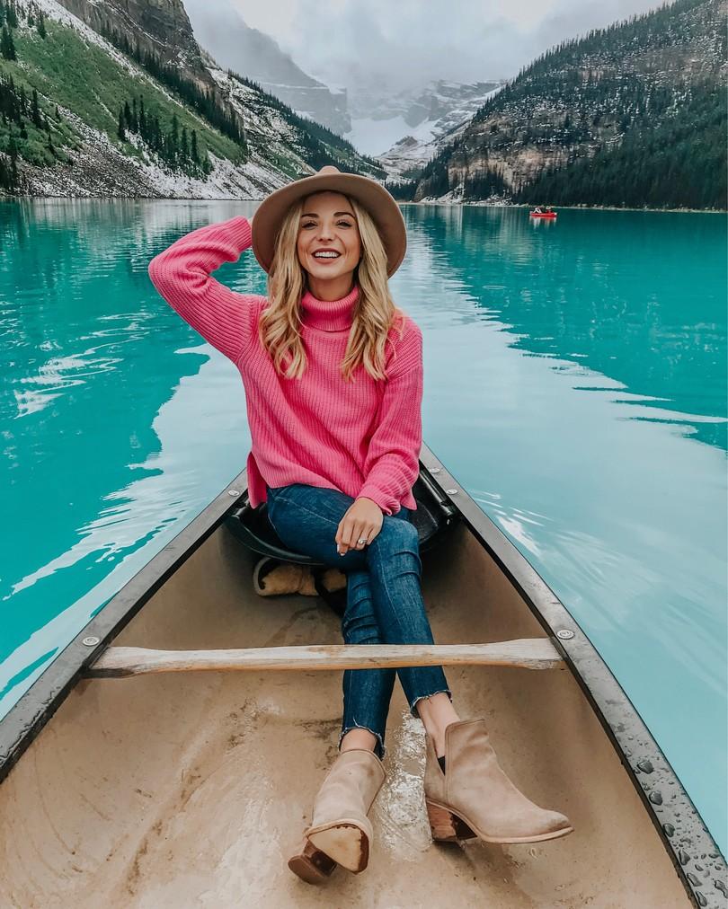 pink revolve sweater lake louise
