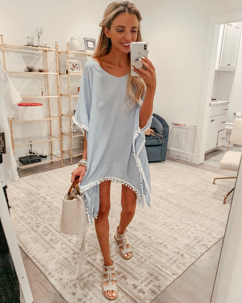 blue tunic cover up white pom poms