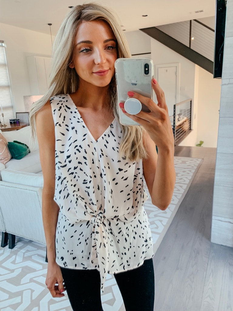 chelsea28 pink dot blouse