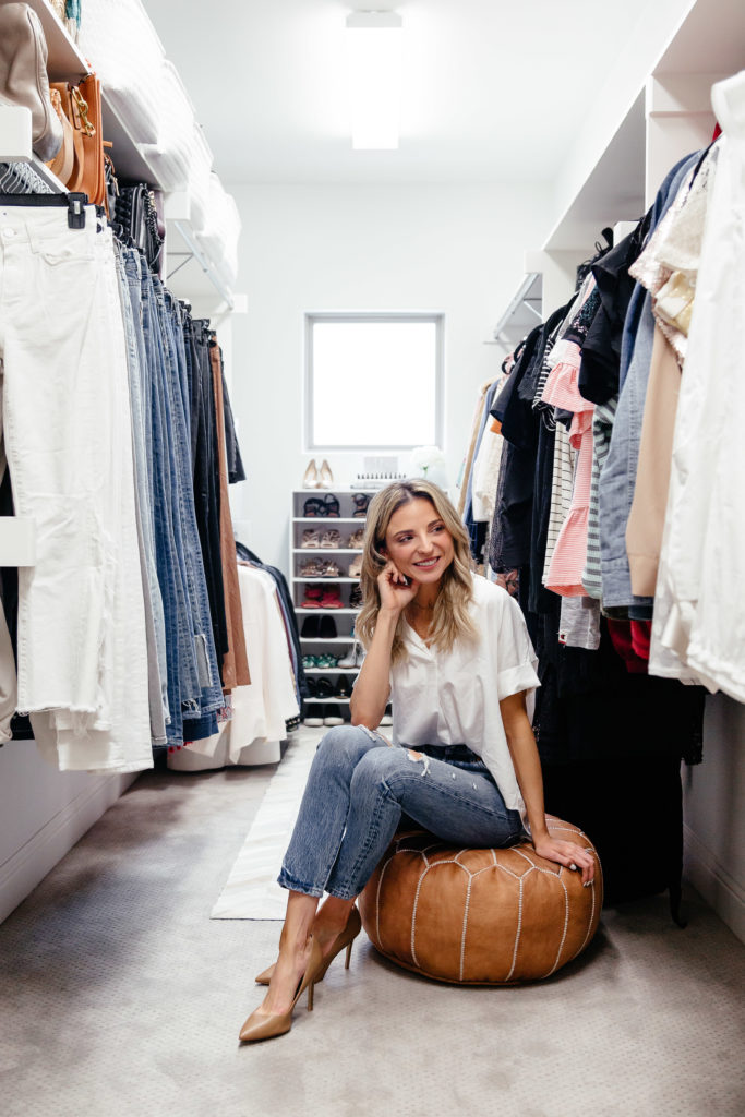Dani Austin Madewell White Top Jeans Organize Closet