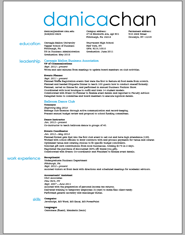 Best Font Type In Resume. resume font what font to use in a resume ...