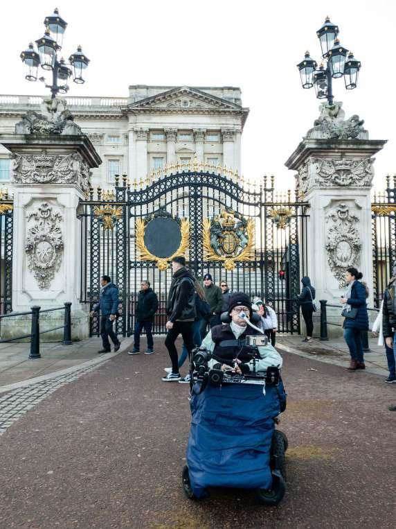 Daniel Baker outside Buckingham Palace