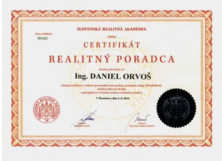 Certifikát Realitnej únie potvrdzujúci, že Ing. Daniel Orvoš získal vzdelanie v oblasti sprostredkovania predaja nehnuteľností.
