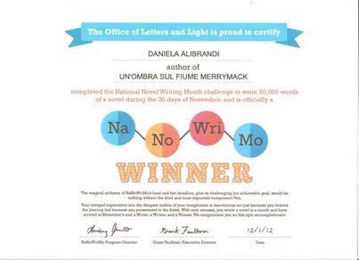 Rientro tra i vioncitori del premio lettrario internazionale Nanowrimo 2012 con Un'Ombra sul fiume Merrimack.