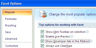 how to add developer tab in excel 2008