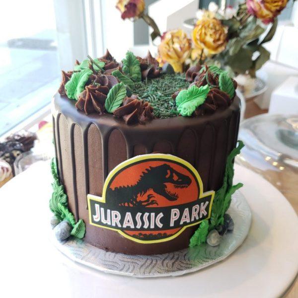 Gâteau Jurassic park en chocolat avec coulis au chocolat- chocolat cake with coulis au chocolat