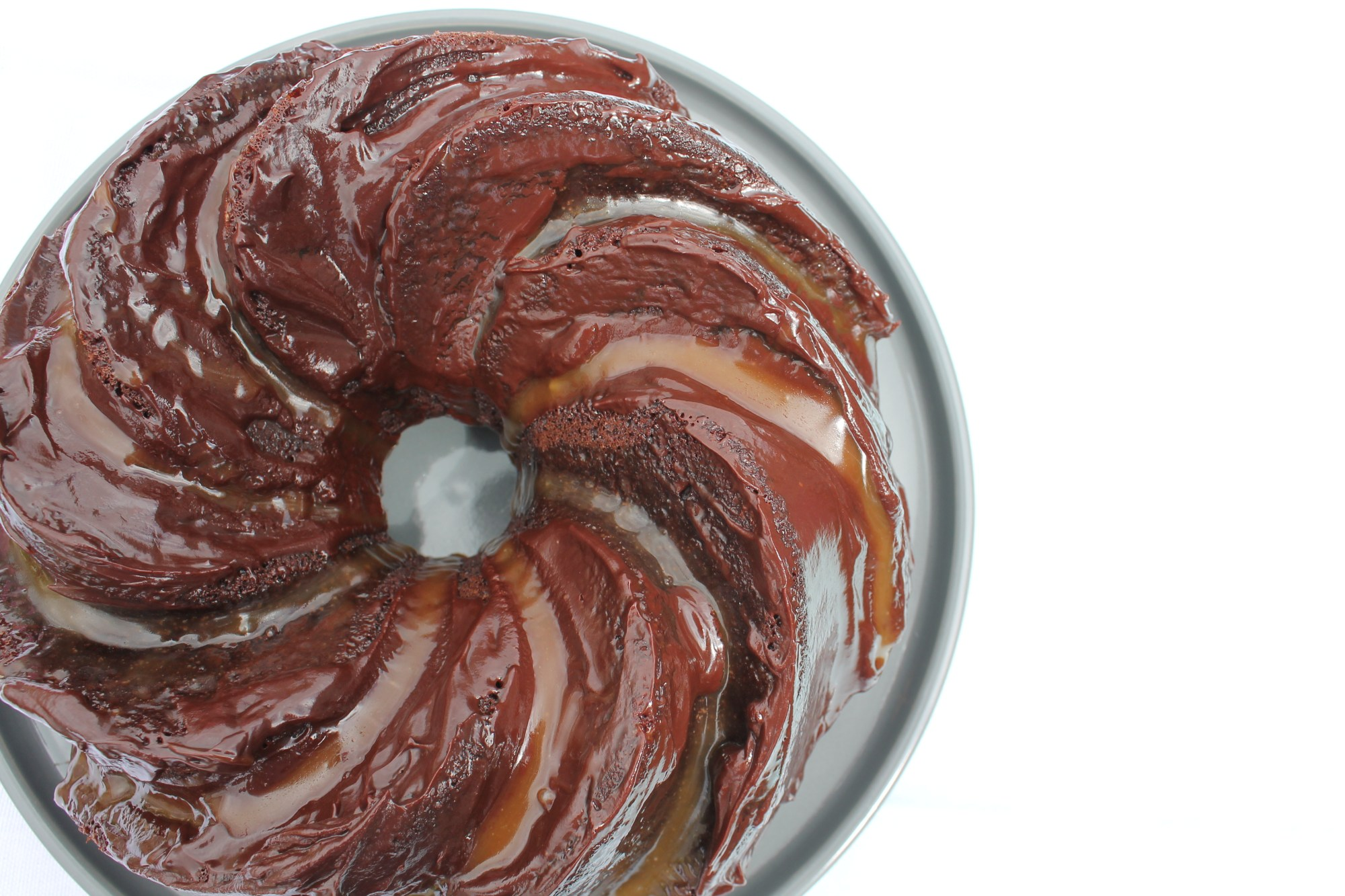 chocolate and caramel swirl bundt
