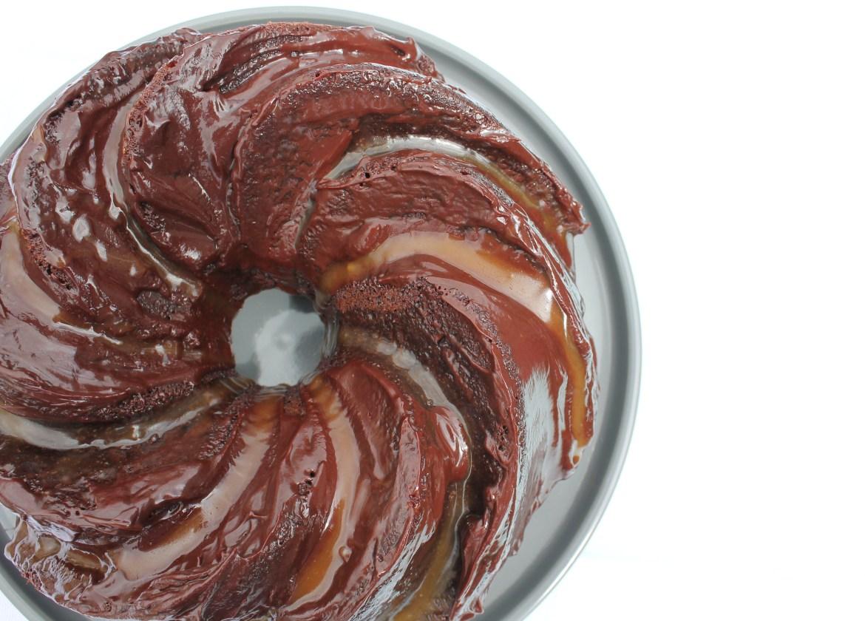 chocolate and caramel swirl bundt