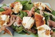 Warm goats cheese,fig and parma ham salad