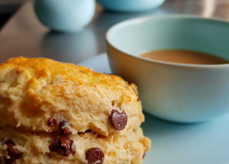 chocolate chip and hazelnut scones