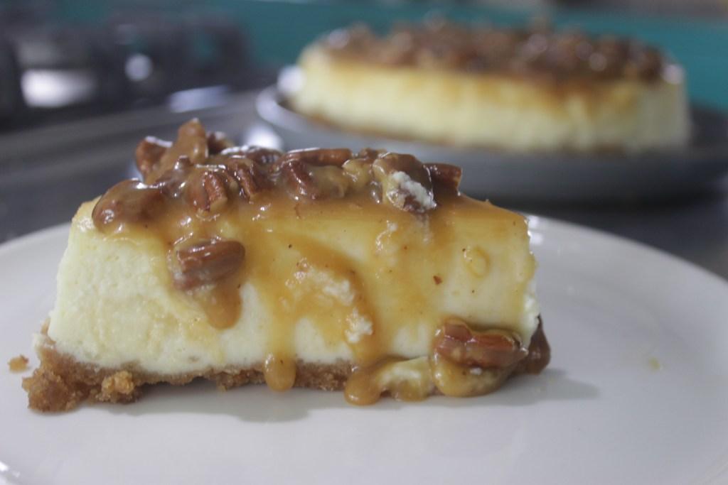 Baked pecan caramel cheesecake