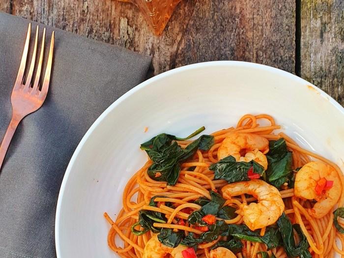 Harissa prawns spaghetti