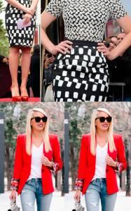 look preto, vermelho e branco