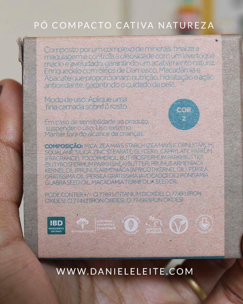 Ingredientes do pó compacto Cativa Natureza