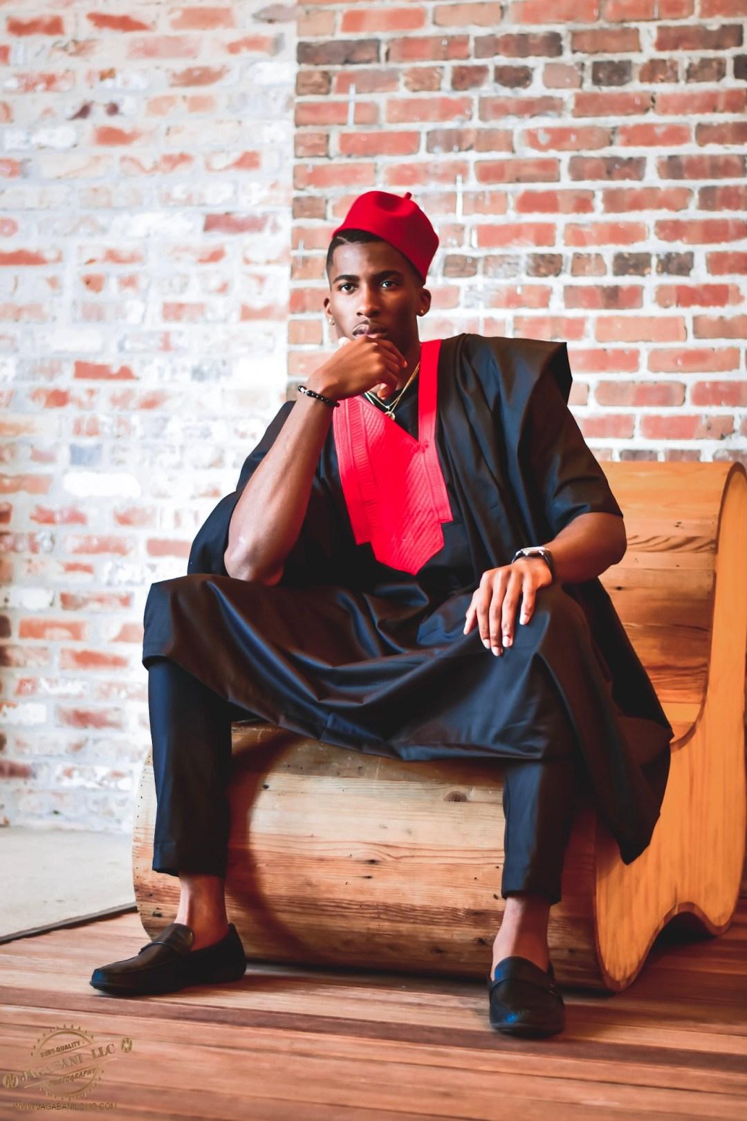 Daniel Obiefuna Nwandu, Fondu, Portrait Photography, Nigerian Male Model, Artist, Designer, Commissioner of Reflex Football, RFB, Unique Traditional Black Custom Fit, Men's Fashion