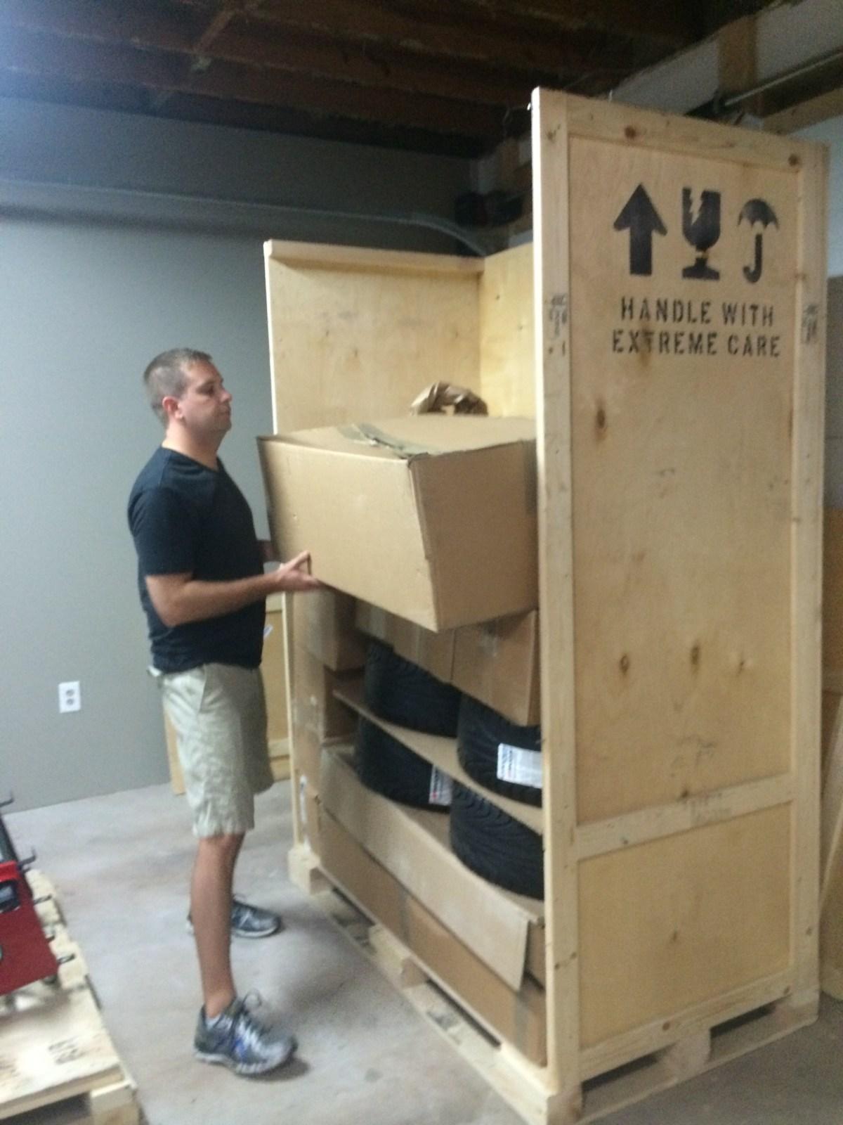 Unloading the tall box