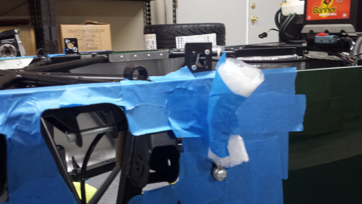 Padding and tape on the bonnet latches