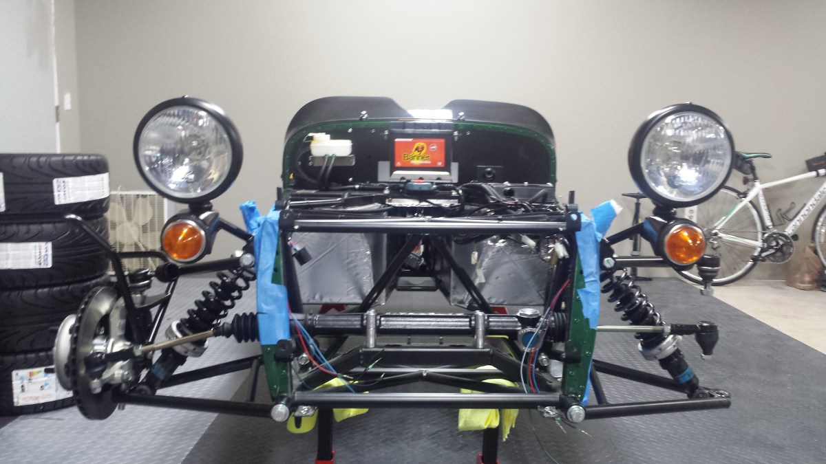 Headlights and front suspension on