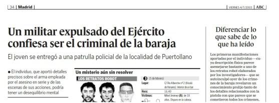 hemeroteca titular noticia periódico el asesino de la baraja se entrega a la policía
