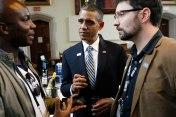 "President Obama impersonator Louis Ortiz is the subject of Ryan Murdock's (right) ""Bronx Obama"""