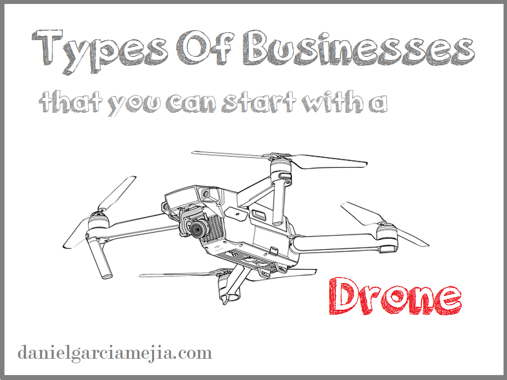 type business with a drone banner