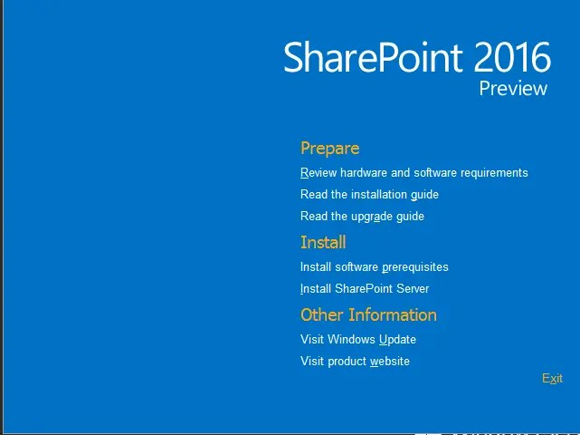 SharePoint 2016 Preview Installation GUI