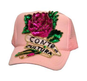 Cap Contro-Cultura #17, hand-sewn sequins decoration on trucker cap, unique size, unique piece